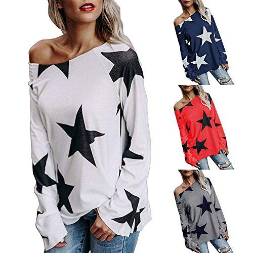 Femmes Tshirt Oversize Pull à manches longues Femme Shirt Sweatshirt Off épaule Blouse Baggy Tops Star d'impression Chemises Gris Blanc Rouge Bleu S M L XL 2XL 3XL 4XL Hibote Rouge