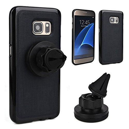 Kroo Support pour téléphone portable pour grille d'aération Berceau Magnétique support de voiture pour Smartphones de Samsung Galaxy S7Étui rouge - Rouge/noir noir - noir