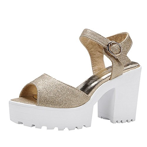 Mee Shoes Damen chunky heels Peep toe Plateau Sandalen Gold