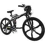AMDirect Elektrofahrrad mit 26 Zoll Mountainbike Faltbares E-Bike 250W 25KM/H Pedelec E-Bike mit 8AH Lithium-Akku 21 Gang Shimano Getriebe (26'' schwarz (Sechs Messer-Rad))