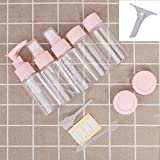 WHOLE MART® Plastic Multipurpose Cosmetic Travel Pouch Kit with 2 Empty Refillable Bottles