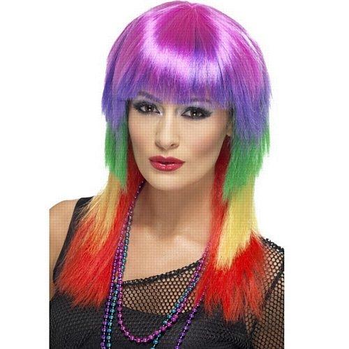 Regenbogen Rocker Perücke, mehrfarbig