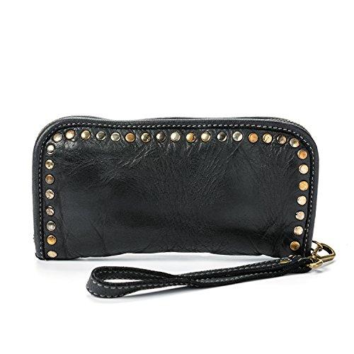 Ira del Valle, Damen Geldbörse, Echtes Leder, Vintage, Arizona Geldbörse Modell, Made in Italy (Schwarz)