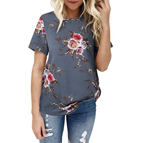 Hevoiok Damen Kurzarm-Shirt Blumendruck Bluse Oberteile, Neu Frühling Sommer Charmant T-Shirt Frauen Casual Süß Tops Chiffon (Grau, M)