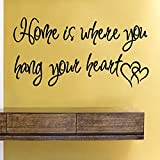 43SabrinaGill Wandaufkleber mit Zitat Home is Where You Hang Your Heart, 58,4 x 30,5 cm