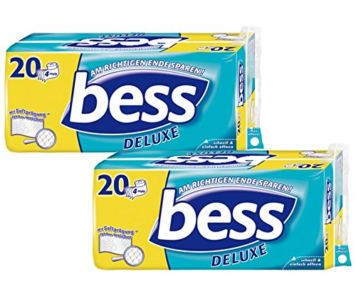 Bess Deluxe Toilettenpapier 4-lagig Riesenpackung 2 Packungen (je 20 Rollen x 150 Blatt), 1er Pack (1 x 2 Stück)