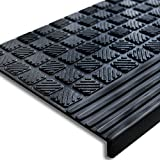 casa pura T. 30096 Stufenmatte aus Gummi - 65x25cm - mit Winkelkante, rutschfest, für Innen- und Außentreppen Treppenmatte