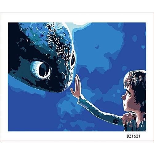 Zqylg Malen Nach Zahlen Dragon Master Cartoon Kind DIY Digitale Malen Nach Zahlen Moderne Wandkunst Leinwand Malerei Einzigartiges Geschenk Wohnkultur 40X50 cm