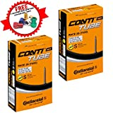 Continental Race 28 700 x 20-25c Road Bike Inner Tubes - 60mm Presta Valve (Pair) - with Ano Adapters
