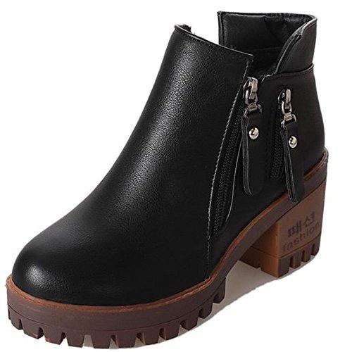 Hsxz Chaussures Femme Pu Printemps Automne Confort Des Bottes Pour L'extérieur Noir Brun Noir