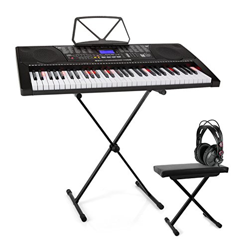 Schubert Etude 225 • USB Lern-Keyboard + Kopfhörer + Keyboard-Ständer + Sitzbank • 61 Leuchttasten • integrierte Stereolautsprecher • Aufnahme- & Playback-Funktion • lichtgesteuerten Tasten • schwarz