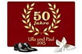Geschenke 24: Personalisierte Fußmatte Goldene Hochzeit in Rot - Fußmatte mit Namen Bedrucken - eine tolle Geschenkidee zu 50 Jahren Eheglück