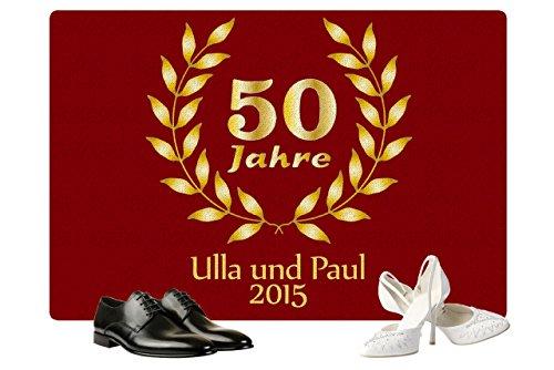 alisierte Fußmatte Goldene Hochzeit in Rot - Fußmatte mit Namen bedrucken - eine tolle Geschenkidee zu 50 Jahren Eheglück (Rot Personalisierte Geschenke)