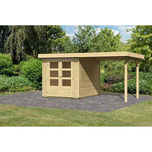 Röhrs Edition - Karibu Gartenhaus Walsrode 2 naturbelassen Set mit Anbaudach - Gerätehaus aus Fichtenholz - 213 x 217 cm - 19 mm Wandstärke - modernes Design mit Flachdach