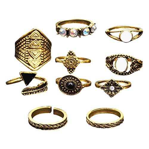 TENDYCOCO 10 stücke Retro Ring Set Böhmen Ethnischen Stil Fingerringe für Frauen Mädchen