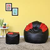 VSK Combo XXXL Sofa Mudda Bean Bag Cover with Footstool/Puffy Black & Red Multicolored (Without Beans)