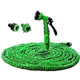 Codomoxo® - Tubo per irrigazione estensibile e retrattile, colore verde, da 50, 75, 100, 125, 150 piedi + Pistola a 7getti + Punte di raccordo universali