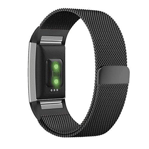 Preisvergleich Produktbild Greatfine Replacement Wrist Band for Fitbit Charge 2 Armband Sport Smart Watch Strap Fitness Tracker Uhrenarmband Ersatzband Bügel für Fitbit Charge 2 (Blackmilan, Large)