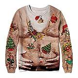 VEMOW Heißer Damen Frau Herbst Winter 3D Druck Weihnachten Langarm Täglichen Party Casual Freizeit Sweatershirt Top Bluse Pullover(Braun 2, EU-36/CN-2XL)