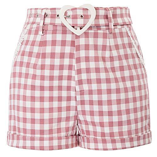 Spandex-vintage-shorts (Belle Poque Damen Retro Vintage Shorts festliches Shorts 50er Jahre Shorts grau mit gürtel L BP858-2)