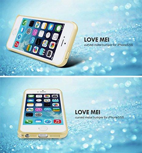 Love Mei Schutzhülle Bumper Rahmen aus Metall Ultra Fine aus Aluminiumlegierung de Luxe für iPhone 5/5S Champagne+Golden