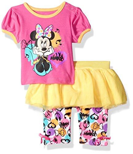 Disney Baby-Girls Newborn Minnie Mouse 2 Pieced Skegging Set, Fuchsia Bouquet, 3-6 Months