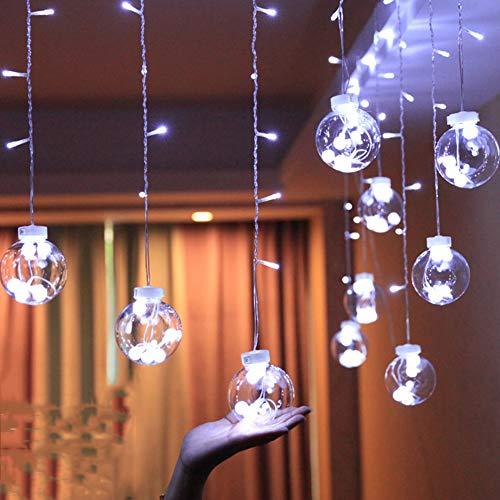 IGRNG Led Funkelnde Lichter Kleiner Laterne Raum-Vorhang, 3 Meter Breite 0,65 Meter hoch 12 Birnen, Feiertags-Dekoration-Stern-Lichter -