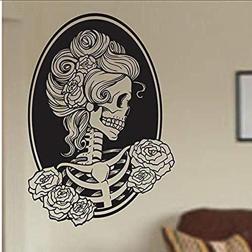 Pegatinas de pared Clásico mujer cráneo pared vinilo apliques...