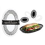 Oval Fast Food Korb 4pc- American Diner Korb, Burger, Chips, Hotdogs, schwarz und weiß Kunststoff Servierplatte für Seite oder Abendessen Bestellungen