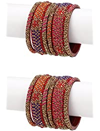 Somil Exclusive Wedding Collection Kada & Bangle Set Designer Ornamented Red, Blue & Golden (Size 2.8)
