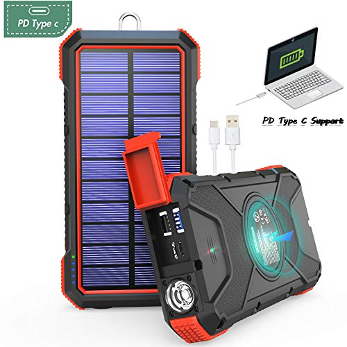 GOODaaa Solar Powerbank Laptop NEU 2019-20000mAh, Qi Laden 10W/7.5W/5W, USB Leistung 18W, Quick Charge 3.0, Solar Ladegerät, USB Type-C Eingang- & Ausgangsports, 2X USB, LED-Licht, Kompass