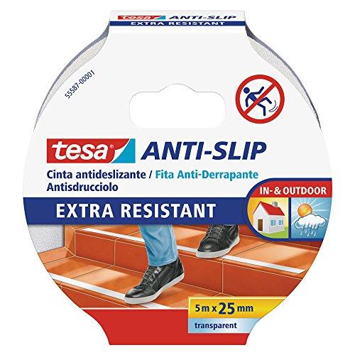 tesa Nastro Antiscivolo - Adesivo Antiscivolo per l'Uso Interno ed Esterno - Per Scale e Pavimenti Lisci - Trasparente - 5 m x 25 mm
