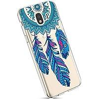 YSIMEE para Fundas Samsung Galaxy J4 2018,Xmas Decoración Fundas Transparente Silicona Suave Ultra Fina Delgado Gel Bumper TPU Goma Protectora Carcasas-Blue Dream Catcher