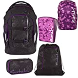 Satch Pack by Ergobag Purple Hibiscus 5-tlg. Set Schulrucksack + Sportbeutel + Schlamperbox inkl. Geodreieck + Heftebox Tripleflex Lila + Regenhaube Lila