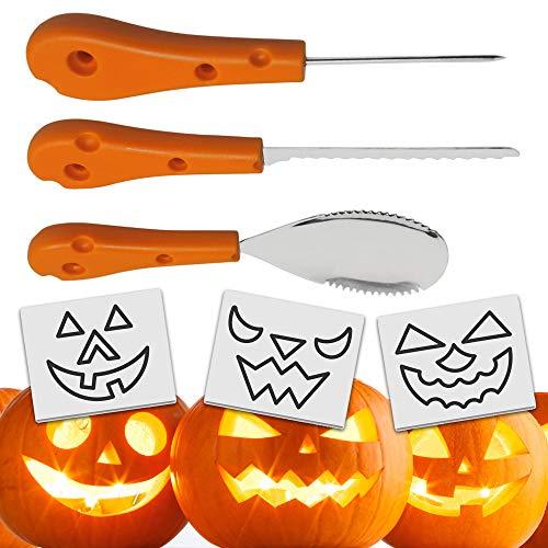 THE TWIDDLERS 3-teiliges Deco Halloween Edelstahl Kürbis-Schnitzset und Früchte - Schnitz-Vorlagen - Kürbisse Schnitz-Werkzeuge - Premium Qualität Set, inkl. 12 Schablonen - für Kinder