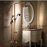 Gowe Single Griff Messing Antik Badezimmer Badewanne Dusche Wasserhahn Set + 20,3cm Duschkopf + Handbrause + Schiebetür Seifenschale