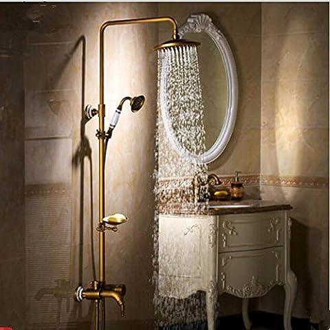 Gowe Poignée simple en laiton antique baignoire robinet de douche salle de bain + 20,3cm Pomme de douche + Douchette coulissante +