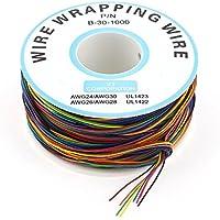 sourcingmap® 305M 30AWG 0.25mm Placcato Stagno Rame Filo Avvolgente Cavo Di Prova Colorato