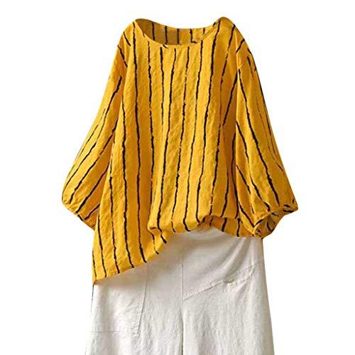 DIPOLA Damen T-Shirt Mit Großem Streifenmuster Aus Baumwolle Und Leinen, Gestreiftes Hemd Mit Großem Streifenmuster Und Böhmischem Tan-Oberteil Tops