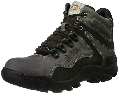 Lee Cooper Men's Grey Leather Trekking and Hiking Boots - 9 UK/India (43 EU)