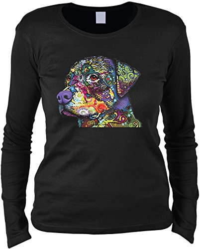 Damen Langarmshirt Neon Rottweiler Hund Shirt 4 Heroines Geburtstag  Geschenk geil bedruckt Schwarz