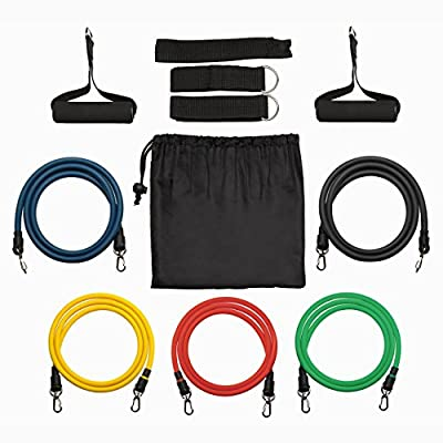 Resistance Bands, ElleSye Resistance Tubes, Set of 5 Exercise Bands, Workout Strap with Foam Handles, Door Anchor, Ankle Straps and Carry Bag, Suitable for Crossfit Home and Travel Fitness,Best for Building Muscle