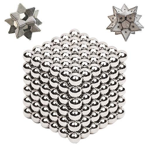 Kuiji Magnete Cubo Classic 216 pz Palline Multifunzionale Magnetiche Intelligence Develop DIY Scultura Libera Creazione E Combinazione di Cubo Magico (Argento)