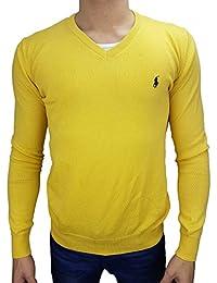 2798f27d2455a8 Polo by Ralph Lauren Pullover Herren SLIM FIT   newport yellow - gelb  Reiter navy