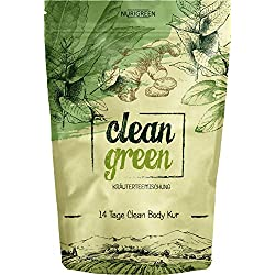 Clean Green Detox Tee - schnell und wirksam - 14 Tage Body Detox Tee Kur - 100% natürliche Kräuterteemischung - Grüner Tee, Brennnessel, Ingwer & Gojibeeren - Hergestellt in Deutschland - für Frauen und Männer - auch ohne Sport - vegan - Nurigreen