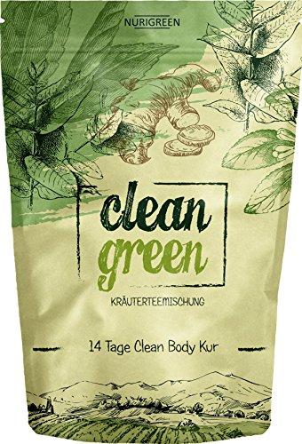 Ingwer Tee Grüner (Clean Green Detox Tee - schnell und wirksam - 14 Tage Body Detox Tee Kur - 100% natürliche Kräuterteemischung - Grüner Tee, Brennnessel, Ingwer & Gojibeeren - Hergestellt in Deutschland - für Frauen und Männer - auch ohne Sport - vegan - Nurigreen)