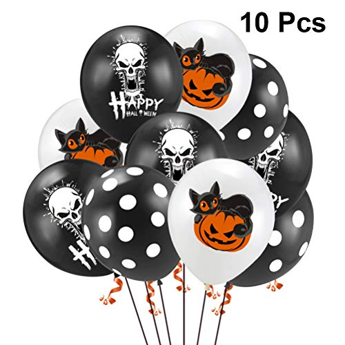TOYANDONA 10pcs Halloween Ballon Set Set Schädel Katze Kürbis Schwarz Punkt Druck Latex Ballon für Halloween Theme Party Supplies ohne Band (Halloween Theme Party Supplies)