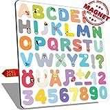 Alphabet magnete Modell Bild | Magnetbuchstaben | ABC Deutsches Alphabet |Ä|Ü|Ö|ß| Magnetische Buchstaben und Zahlen aus PLEXIGLAS | Lernspielzeug für Kinder ab 3 Jahre | Premium-Qualität Geschenk