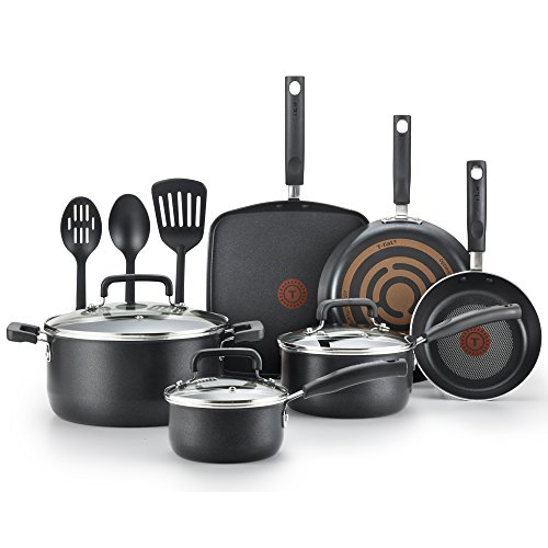 T-fal C530SC Signature Nonstick Expert Thermo-Spot Heat Indicator Dishwasher Safe Cookware Set, 12-Piece, Black