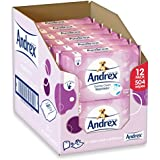 Andrex Washlets Flushable Toilet Tissue Wipes, Gentle Clean - Pack of 12 (Total 504 Wipes)